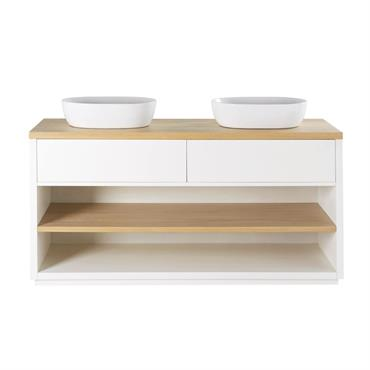 Meuble double vasque 2 tiroirs blanc Austral