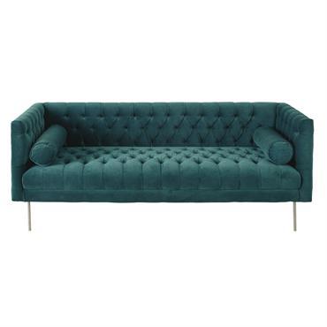 Canapé 3 places en velours vert Liam