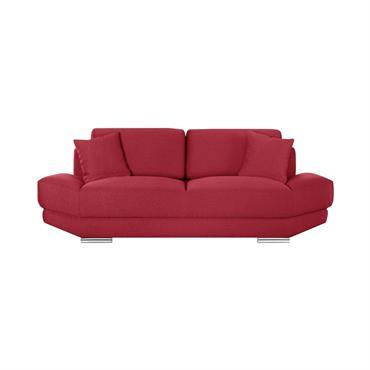Canapé 3 places toucher lin rouge glamour