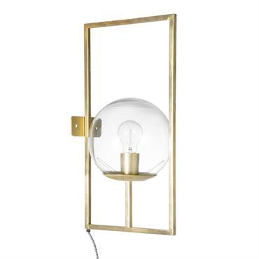 Applique globe en verre et métal doré