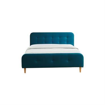 Lit bleu canard avec sommier à lattes et tête de lit 160x200