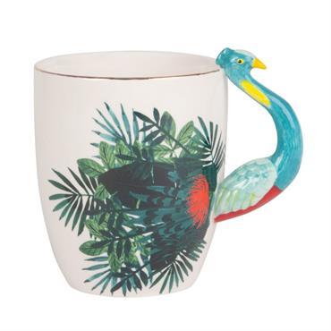 Mug paon en porcelaine motifs feuilles