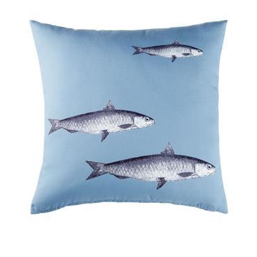 Coussin d'extérieur bleu imprimé poissons 45x45
