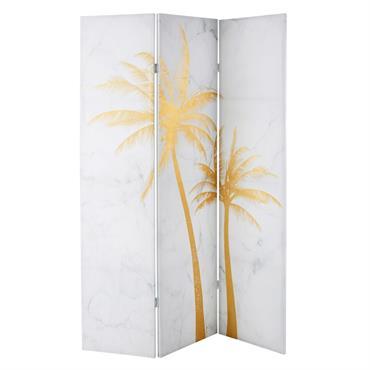 Paravent effet marbre imprimé palmiers dorés