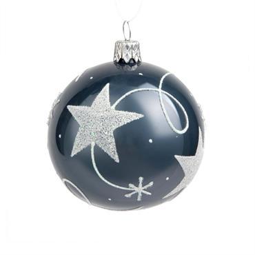 Boule de Noël en verre bleu imprimé étoiles