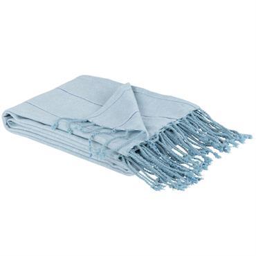 Fouta en coton bleu motifs à rayures argentées 100x180