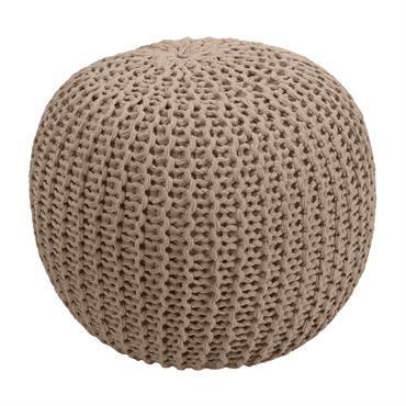 Pouf tricot rond en coton taupe