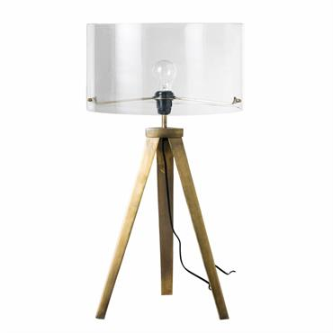 Lampe en métal bronze et verre