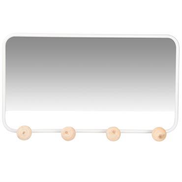Miroir en métal blanc 4 patères en pin 60x34