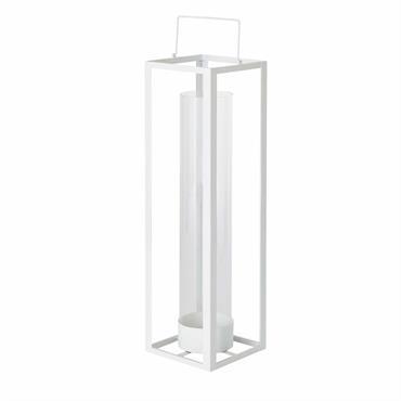 Lanterne en métal blanc et verre H69