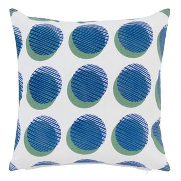 Housse de coussin en coton blanc imprimé bleu et vert 40x40