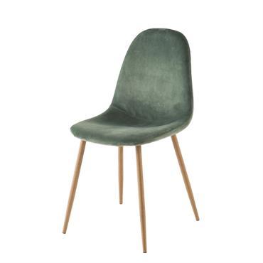 Chaise style scandinave en velours vert Clyde