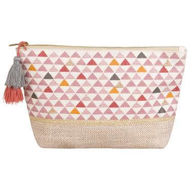 Trousse de toilette en coton motifs triangles
