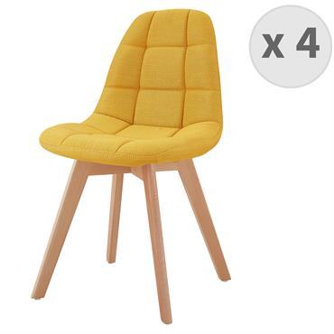 STELLA-Chaise scandinave tissu curry pied hêtre