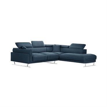 Canapé d'angle droit 6 places toucher lin bleu jeans