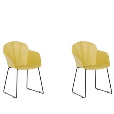 Lot de 2 chaises de salle à manger jaunes