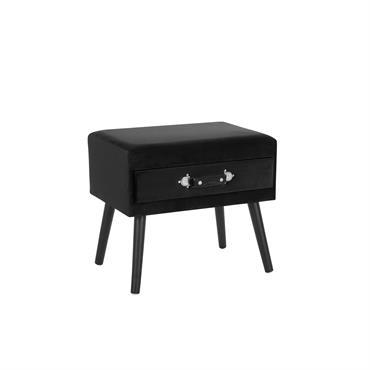 Table de chevet en velours noir