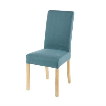 Housse de chaise en lin bleu pétrole 41x70