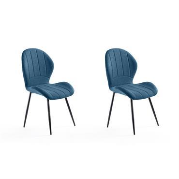 Lot de 2 chaises design bleu pétrole avec piétement en métal