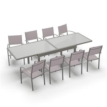 Table de jardin 8 personnes en aluminium gris Taupe
