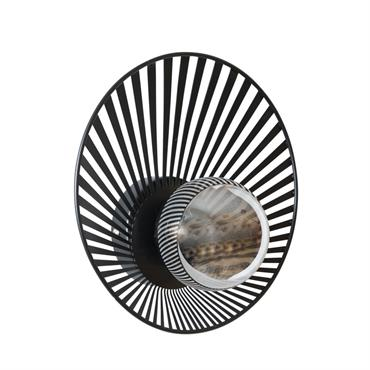 Applique filaire noire et globe en verre fumé
