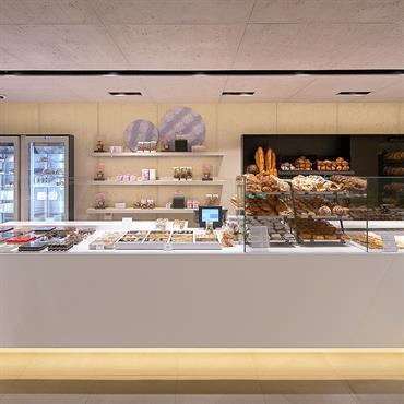 Projet d'agencement d'une chocolaterie haut de gamme dans la région de Bruxelles ; il y a plusieurs bancs pour étaler ... Domozoom