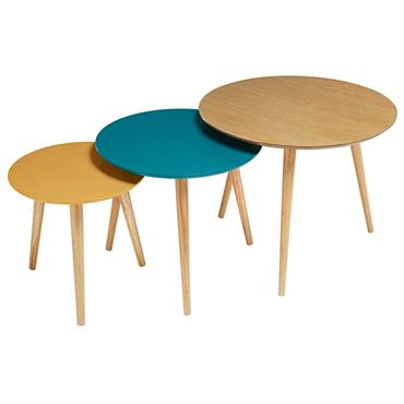 Tables gigognes vintage tricolores Fjord