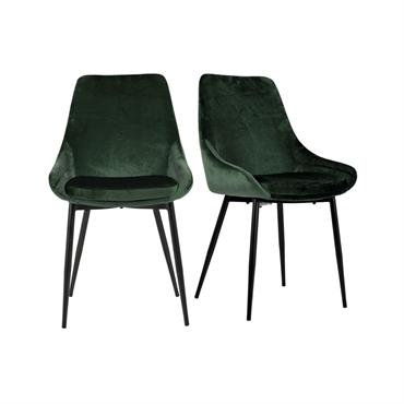 Lot de 2 chaises design velours côtelé Vert