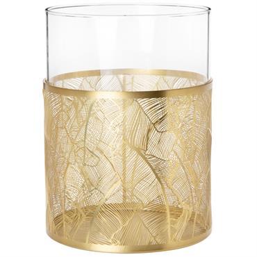 Photophore en verre et métal filaire doré