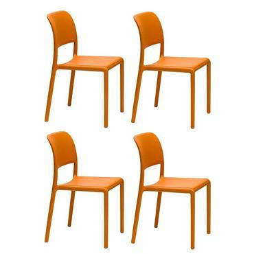 Lot de 4 chaises RIVER empilables design coloris orange