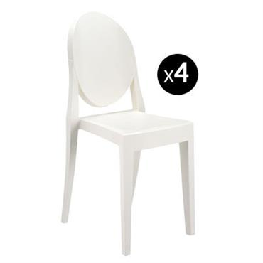 Chaise empilable Kartell Design Blanc opaque Matière plastique L 38 x Prof. 40 cm x H 90 cm - Assise : H 46 cm Ce lot de 4 chaises Victoria ...