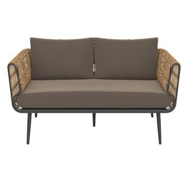 Canapé de jardin 2 places en rotin synthétique et tissu