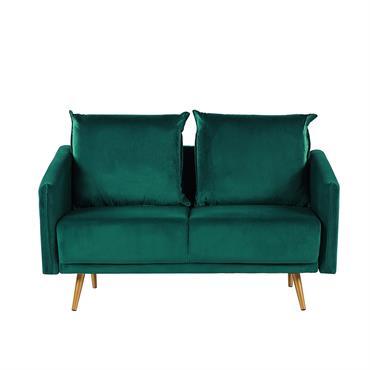 Canapé 2 places en velours vert émeraude