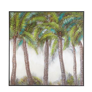 Toile palmiers peinte à la main 102x101