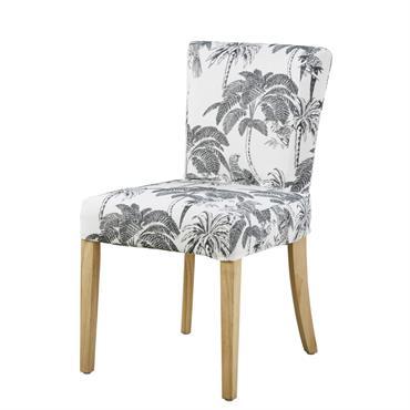 Housse de chaise en coton blanc imprimé palmiers