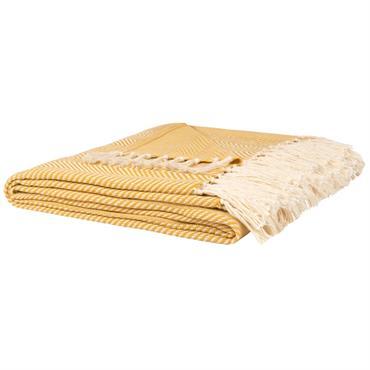 Plaid en coton et bambou jaune et écru à franges 160x210