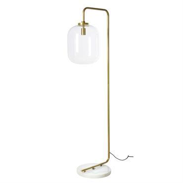Lampadaire en métal doré et marbre blanc H154