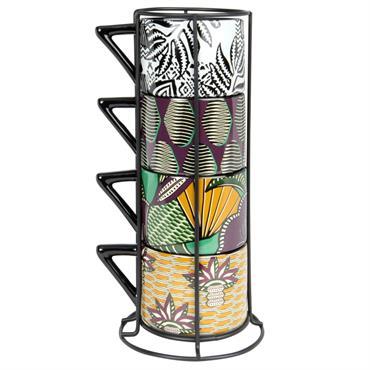 Tour en métal 4 tasses en faïence imprimé multicolore