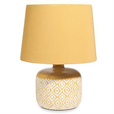 Lampe en céramique jaune motifs blancsLYNN