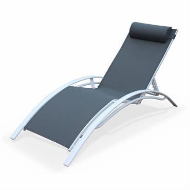 Bain de soleil en aluminium et textilène gris et blanc