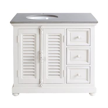 Craquez pour le meuble vasque en manguier blanc cassé CASTILLE , qui ajoutera un look classique et chic à votre pièce. Composé d'une structure en manguier légérement patinée et d'une ...