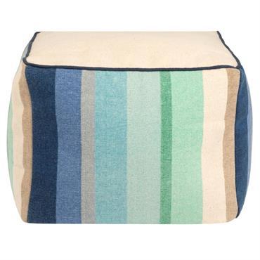 Pouf en coton imprimé bayadère bleu et blanc