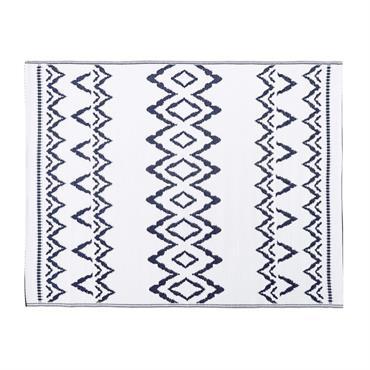 Tapis d'extérieur blanc motifs graphiques bleus 150x200