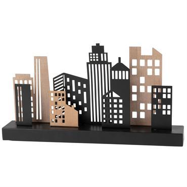 Statuette buildings en métal ajouré noir et marron L30