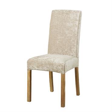 Housse de chaise en velours beige
