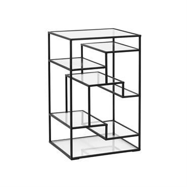 Petite étagère métal et verre style art déco - Nordal Noir