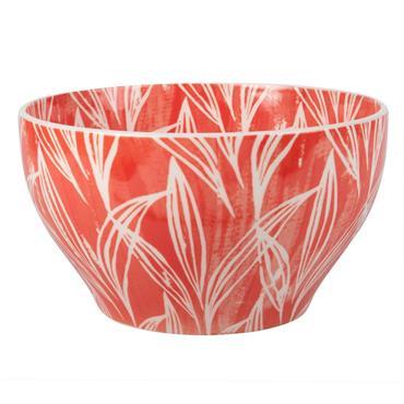 Saladier en faïence imprimé feuilles rouge et blanc