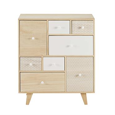 Vintage et printanier, le cabinet 8 tiroirs en paulownia SPRING apportera une onde de fraîcheur dans votre chambre. Ses motifs en étoile, ses couleurs pures et son design géométrique feront ...