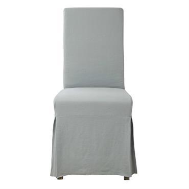 Housse longue de chaise en lin bleu glacier MARGAUX