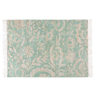 Tapis en jute et coton motifs verts 140x200